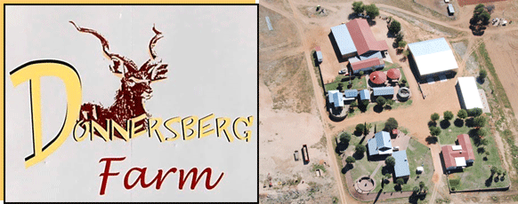 Donnersberg logo and a aerial photo over the farm
